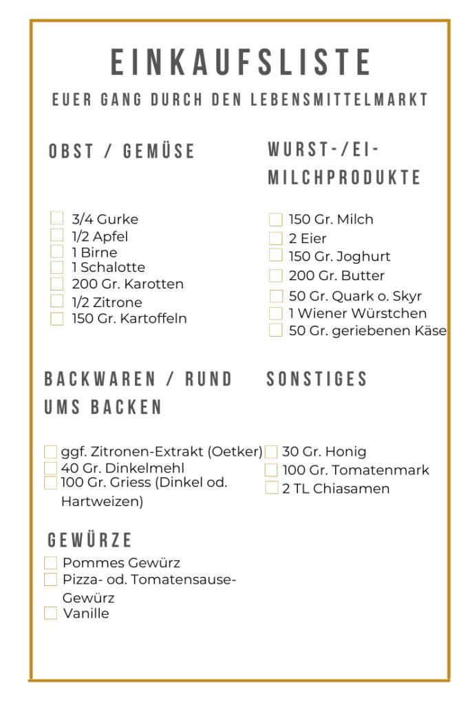 Brotbox Ideen Einkaufsliste