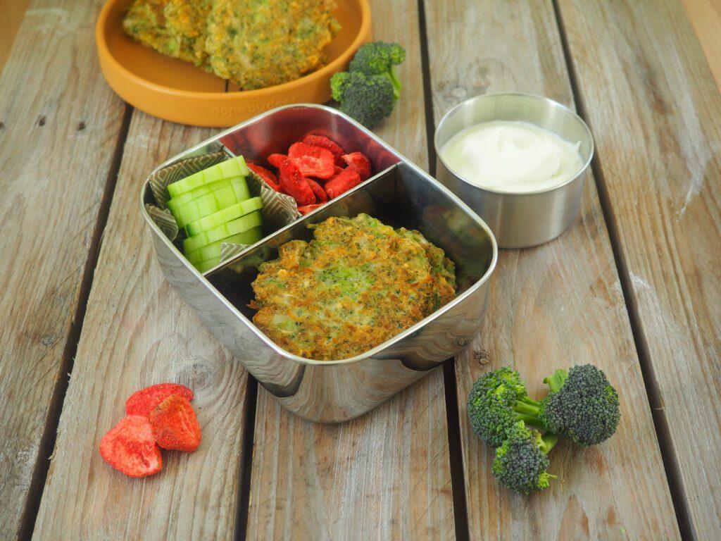 Brokkoli-Puffer Brotboxidee